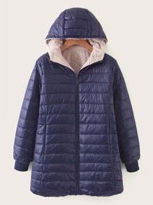 Sherpa Lined Hooded Puffer Coat