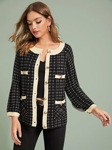Contrast Binding Button Through Plaid Cardigan