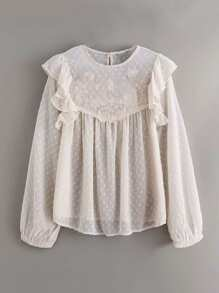 Swiss Dot Ruffle Trim Embroidery Sheer Mesh Blouse