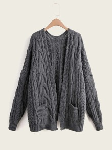 Solid Cable Knit Dual Pocket Cardigan