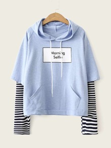 Striped Letter Graphic Drawstring Hoodie