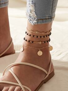 Coin & Cross Decor Chain Anklet 4pcs