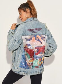 Cartoon Print Ripped Denim Jacket