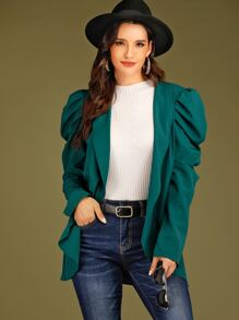 Open Front Puff Sleeve Solid Blazer