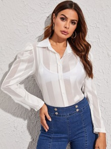 Satin Puff Sleeve Sheer Blouse