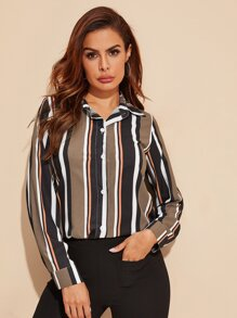 Vertical-striped Button Front Blouse