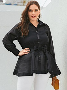 Plus Button Up Belted Sheer Blouse