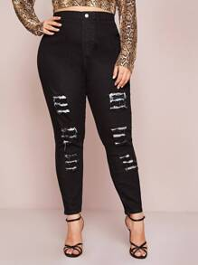 Plus Ripped High Waist Jeans