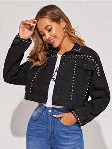 Black Wash Studded Denim Trucker Jacket