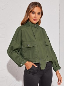 Asymmetrical Raw Hem Epaulet Denim Jacket
