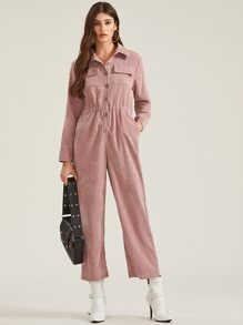 Corduroy Button Front Flap Pockets Jumpsuit