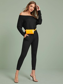 Bardot Drawstring Waist Jumpsuit Without Bag