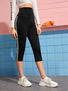 Striped Side Wide Band Waist Capris Leggings