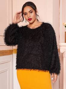 Plus Solid Fuzzy Drop Shoulder Sweater