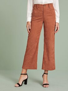 Corduroy Button Fly Wide Leg Pants