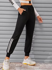 Side Stripe Drawstring Waist Sweatpants