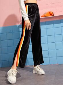 Multi-striped Tape Split Side Wide Leg Velvet Pants