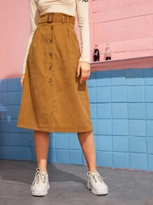 Button Front Belted Corduroy A-line Skirt