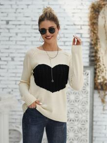 Heart Pattern Raglan Sleeve Sweater