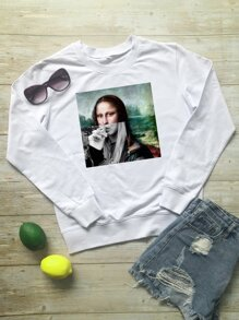 Figure Print Round Neck Sweatshirt