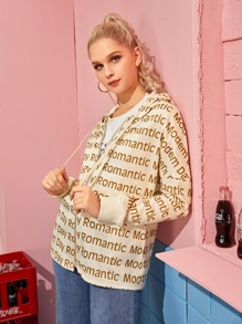 Letter Print Zip Up Hooded Sweatshirt