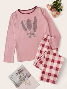 Feather Print Gingham PJ Set