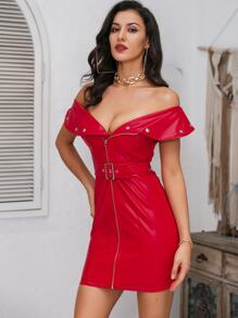 Glamaker Zip Front Belted Bardot PU Dress