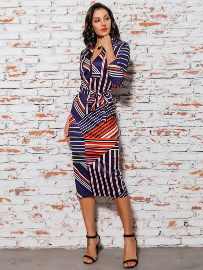 Glamaker Striped Patchwork Belted Pencil Dress