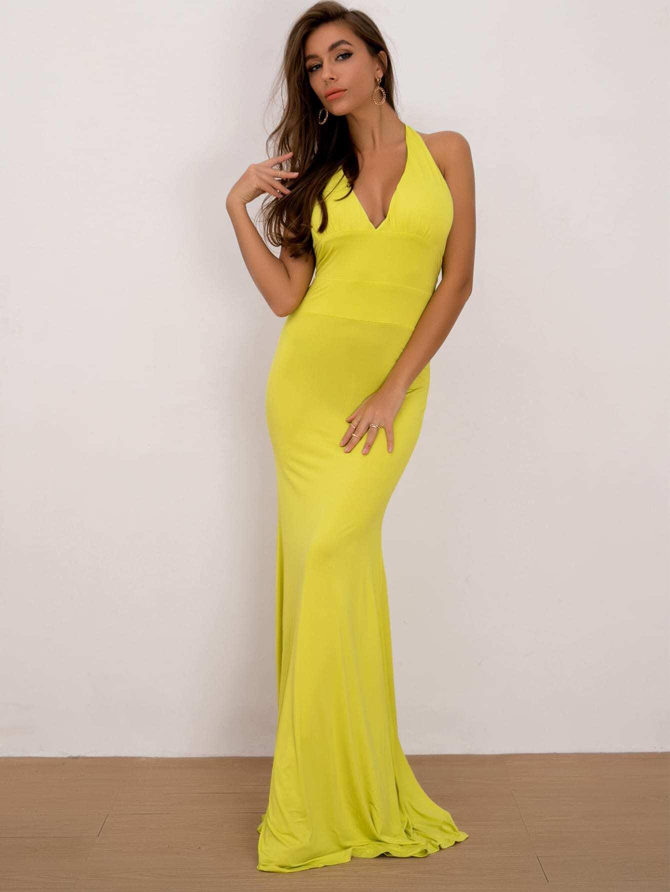 Joyfunear Neon gelbes rückenfreies Kleid mit Band hinten ...