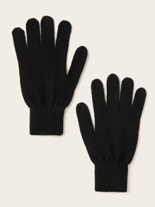 1pair Simple Knit Gloves