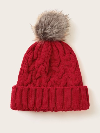 Pom Pom Decor Cuffed Knit Beanie