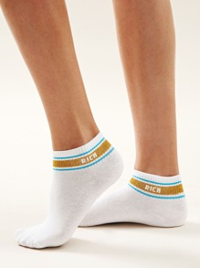 1pair Letter Pattern Socks