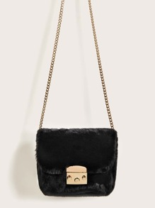 Metal Lock Faux Fur Chain Crossbody Bag