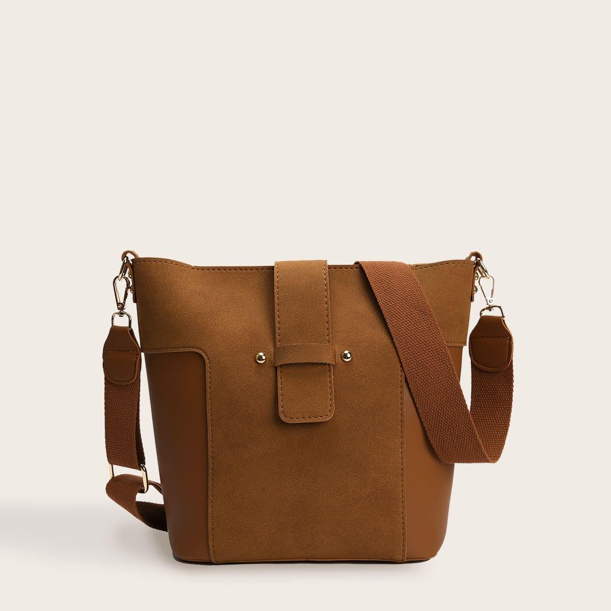 2pcs Minimalist Crossbody Bag With Inner Pouch