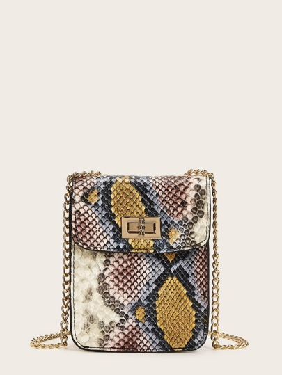 Twist Lock Snakeskin Chain Mini Bag