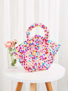 Winged Beaded Decor Tote Bag
