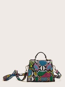 Snakeskin Print Flap Satchel Bag