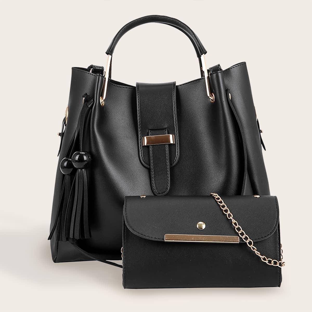 2pcs Tassel Decor Satchel Bag With Crossbody Bag