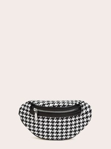 Houndstooth Zip Front Fanny Pack