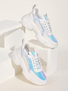Contrast Sequins Decor Chunky Sneakers