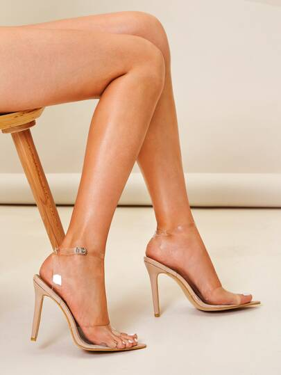 Clear Ankle Strap Stiletto Heels