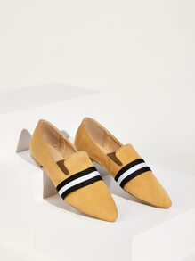 Point Toe Striped Smoking Shoes