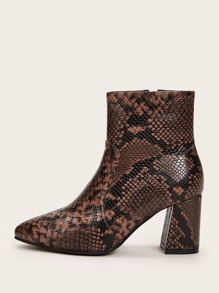 Point Toe Side Zip Snakeskin Chunky Boots