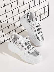 Metallic Detail Lace-up Front Chunky Sneakers