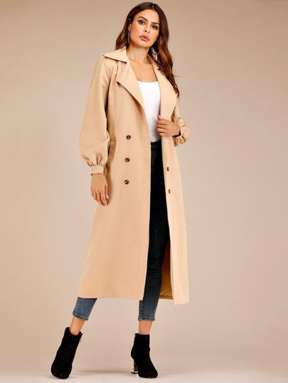 Double Breasted Pocket Longline Trench Coat