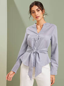 Tie Front Notched Neck Button Front Blouse