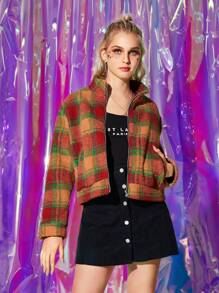 Stand Collar Zip Up Plaid Teddy Jacket