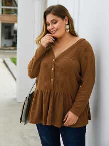 Plus Solid Button Front Waffle Knit Peplum Sweater