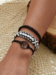 Round Decor Braided String Bracelet 3pcs
