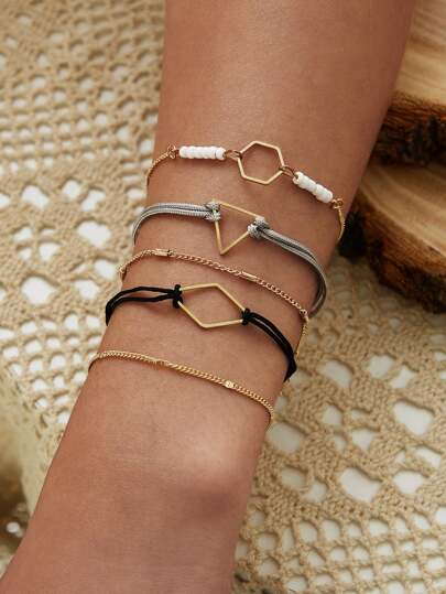 Geometric Decor Bracelet 5pcs